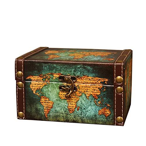 WOVELOT Maleta Decorativa de Almacenamiento Vintage PequeeA Caja de Madera Retro Cerradura de AtaúD Caja de Almacenamiento de Escritorio Acabado Muhe Joyero Mapa Verde