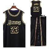 Sarazong Maillot de Basket-Ball Laker Ensemble, Maillot de Basketball pour Hommes NBA Lakers # 23 Respirant Maillot Swingman Basketball Top & Short T-Shirt,Noir,XL