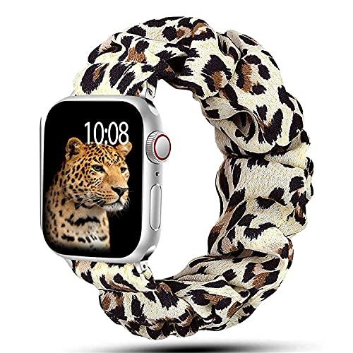 Scrunchie Correa para iWatch 38mm 40mm 42mm 44mm,Elástica Estampado Patrón Pulsera para Mujeres,Solo Loop Correas Repuesto Compatible con Apple Watch Series SE/6/5/4/3/2/1,Leopardo-S