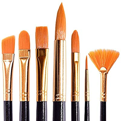 Acrylic Paint Brushes Set for Art Crafts - Face Body Makeup Painting - Watercolor Oil Brush Painting Gouache Blending - Fabric Set of 7 Types of Brushes for Adults and Kids with a Black Handle
