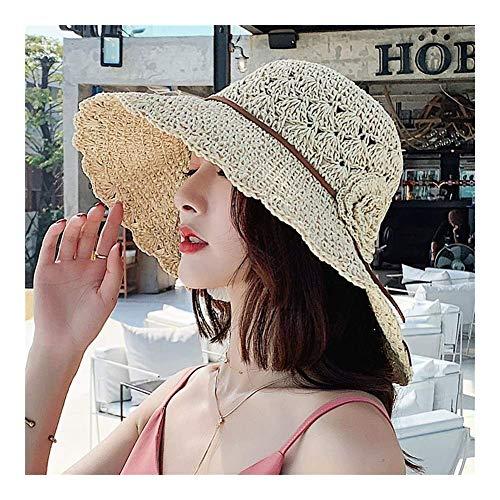 Ajustable de ala Ancha Sol decoración de la Flor del Sombrero, Gorra de Paja Plegable Beach, la Armadura del Cubo Sombrero Perfecto for Actividades al Aire Libre TTYDB (Color : Beige)