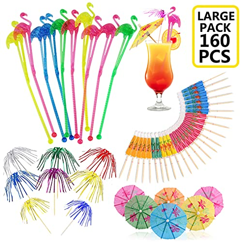 160 PCS Cocktail Party Decorations Pack with Flamingo Cocktail Stirrers Drink Umbrellas Sticks Foil Fireworks Picks for Drinks Hawaiian Tropical Party Decoration Cocktail Accessories, Mixed Color