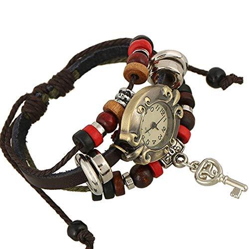 HJW Personalisierte Armband Multi Strands Justierbare Armbänder Für Damen Personalisierte Tribal Geflochtenen Seil-Stulpe-Armband-Uhr-Wulstige