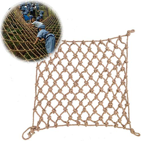 'N/A' Rope Net Decor Net Cargo Net,Vintage Hand Made Outdoor Climbing Net Strong And Durable Handrail Stair Net Decorate The Walls,Customizable(Size:2x2m,Color:Beige-16mm-15cm)