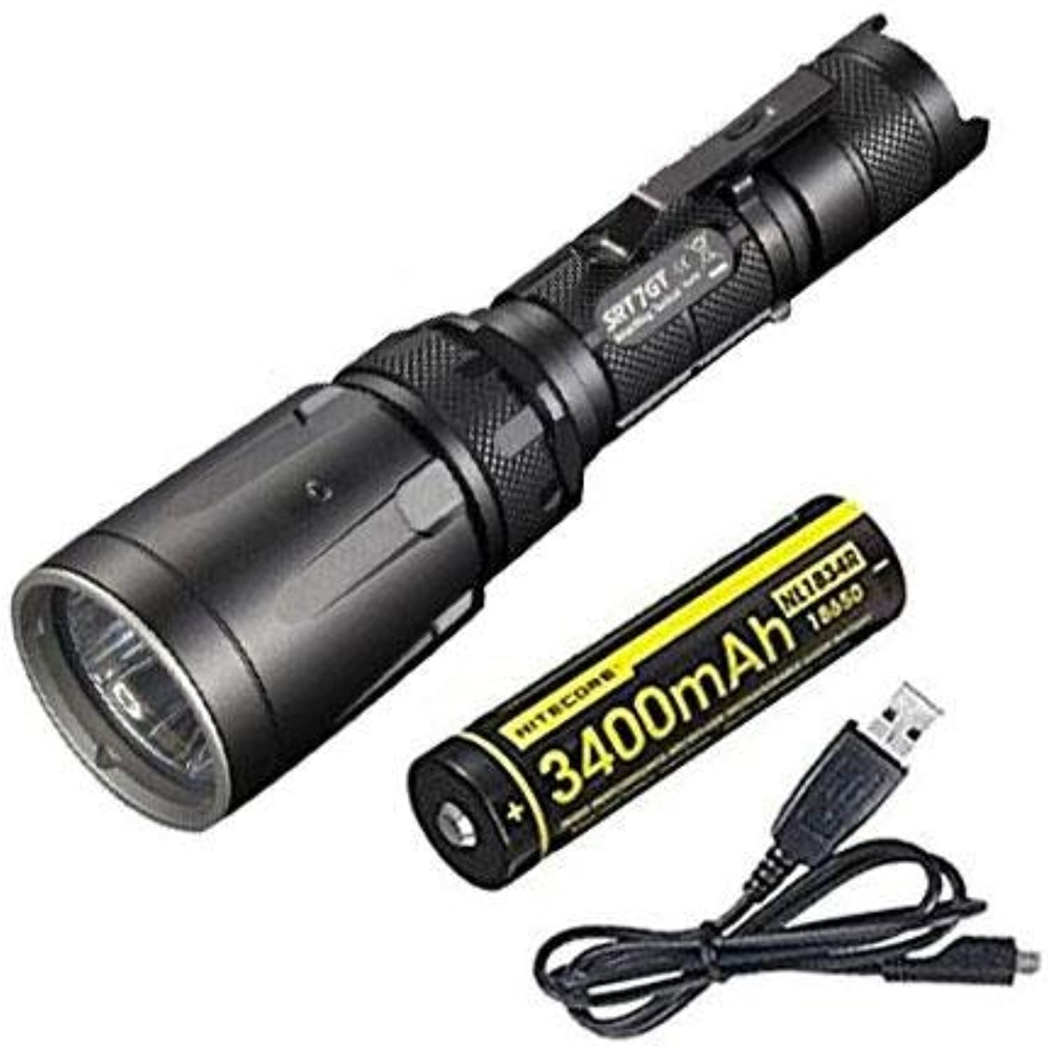 Combo  Nitecore SRT7GT Flashlight Smart Select Ring Multicolord LED's  1000 Lumens XPL Hi V3 w NL1834R Battery +Free EcoSensa USB Cable