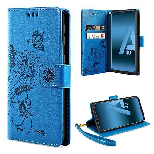ivencase Handyhülle Kompatibel mit Samsung Galaxy A40 Hülle Flip Lederhülle, Handyhülle Book Hülle PU Leder Tasche Hülle & Magnet Kartenfach Schutzhülle - Blau