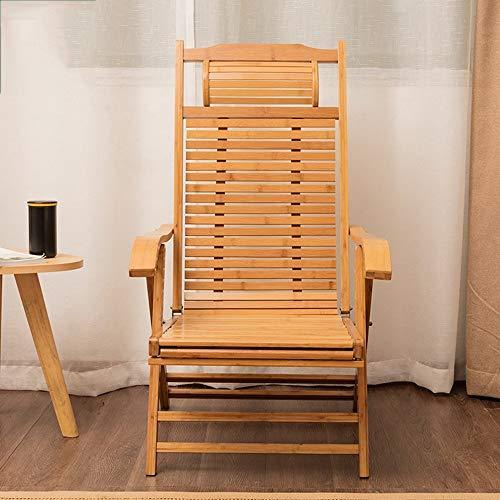 LUO Dormitorio Cama Silla, Estudiante Lazy Chair, Colegio Dormitorio Artefacto Bamboo Mecedora de Madera Maciza Plegable Viejo Hombre Siesta Cómodo Dormitorio Balcón Silla de Respaldo