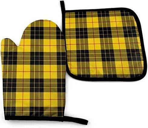 wenxiupin Amarillo Gris Negro Patrón de Cuadros Manoplas de Horno y Soportes para ollas Juegos de Guantes de Cocina Antideslizantes Resistentes a