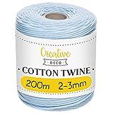 Creative DECO 3mm x 200 m Cuerda Macramé Hilo Algodón Poliéster Azul Pastel | Espesor +-0.5 mm | Cordón Rollo Grande Natural Grueso Fuerte Decoración Manualidades Artesanía Bricolaje y Embalaje