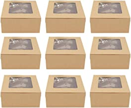 Tomaibaby 20pcs Bakery Pie Boxes With PVC Windows Cardboard Cake Egg Gift Packaging Boxes Transparent Baking Muffin Boxes ...
