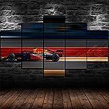 IIIUHU 5 Piezas,Impresión En Lienzo,No Tejido,F1 Red Bull Racing,Decoracion Hogareña Sticker,Cuadros Salon Dormitorio Escena De Pared,Listo para Colgar