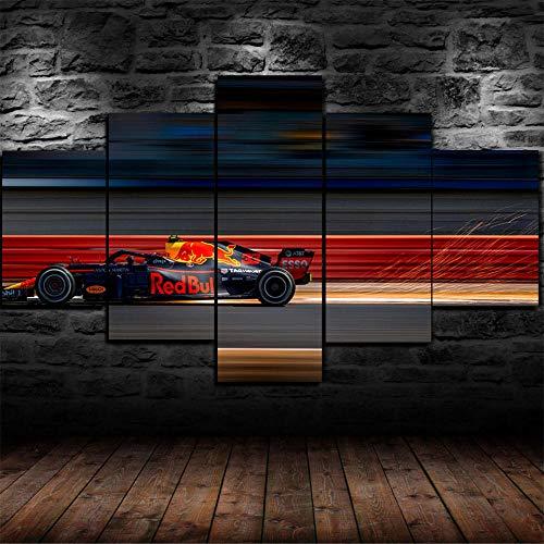 ADKMC IKDBMUE Cuadros Modernos Impresión de Imagen Artística Digitalizada | Lienzo Decorativo para Tu Salón o Dormitorio | F1 Red Racing | 5 Piezas 200x100cm(Sin Marco)