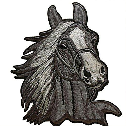 Fablcrew - 1 parche bordado en forma de cabeza de caballo para ropa, camisetas, vaqueros, chaquetas