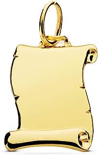 Colgante Pergamino liso Oro Amarillo 18 Kilates 14mm Joya personalizada