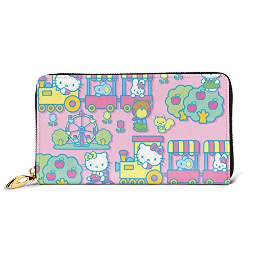 Cuero embrague Hello Kitty cartera de la cremallera de las mujeres de la moda de la pulsera monederos bolso de crédito del teléfono multi titular de la tarjeta organizador carteras