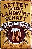Blechschilder Bier lustiger Spruch: RETTET UNSERE