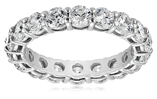 Platinum-Plated Sterling Silver All-Around Band Ring set with Round Swarovski Zirconia (3 cttw), Size 6