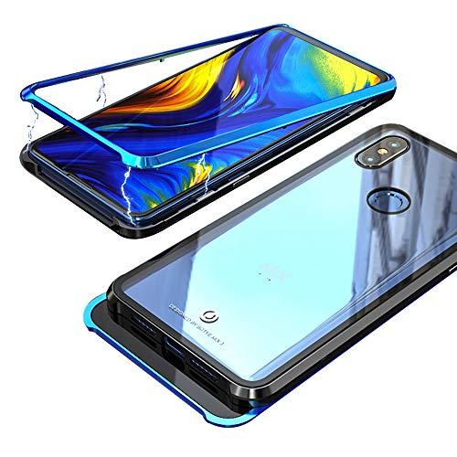 Funda Xiaomi Mi MIX 3, Jonwelsy Fuerte Tecnología de Adsorción Magnética Metal Bumper, Cubierta Trasera de Transparente Vidrio Templado Ultra Delgado Case Cover para Xiaomi Mi MIX 3 (6,39 pulgada)