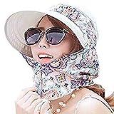 Sonnenhut Damen Sonnenmütze outdoor Strandhut Staubdicht sommerhut Faltbare Hut Anti-UV Atmungsaktiv mit Reißverschluss Sonnenschutz breite Krempe Kappe für Reisen Besichtigung Bergsteigen Wandern