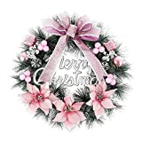 harupink Christmas Wreaths Decorations 40CM Garland Ornament Artificial Christmas Wreaths with Bells Balls Bowknot and Letter Merry Christmas for Front Door Wall Xmas Tree Decoration (Pink)