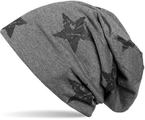 styleBREAKER Unisex Stoff Beanie Mütze mit Sterne Print im Destroyed Vintage Look, Longbeanie 04024041, Farbe:Dunkelgrau