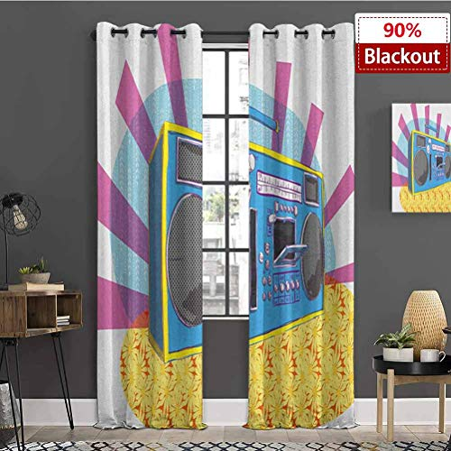 Mozenou 70s Party KidsCurtain Retro Boom Box in Pop Art Manner Dance Music Colorful Composition Artwork Print The Best Choice for Bedroom and Living roomW84xL108 Multicolor