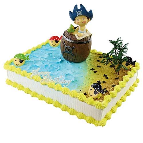 Jacobi Decor Tortendekoration Kindergeburtstag | Motivtorte Piraten-Junge im Holzfass-Spardose Spardose | Kuchen und Torten schnell und einfach dekoriert