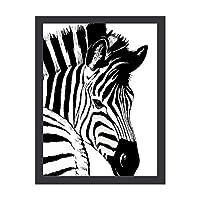 INOV シマウマ 絵画 インテリア フレーム装飾画 アートポスター 額入り(30cm*40cm) 壁画 アートパネル 油絵 壁飾り 壁掛け 木枠付き