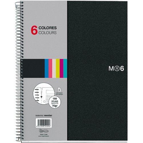 Miquelrius 6 x 8 A5 Wirebound Notebook, 6-Subject, Graph Paper, Black