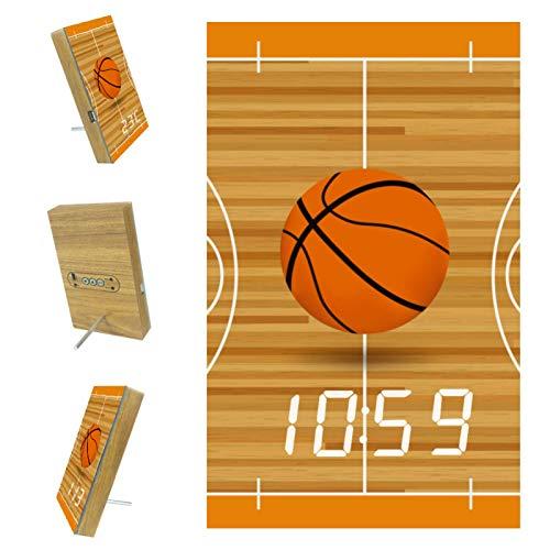 Z&Q Despertador Digital para niños Campo de Baloncesto Naranja Reloj de Mesa con Control por Voz Hora Temperatura y Puerto USB para el Hogar Dormitorio Guardería y Oficina 15.8x9.7x2.3 cm