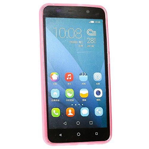 NALIA Handyhülle kompatibel mit Huawei Honor 4X, Soft Slim TPU Silikon Case Cover Hülle Crystal Schutzhülle Dünn Durchsichtig, Etui Handy-Tasche Back-Cover Phone Schutz Bumper - Transparent/Pink - 5