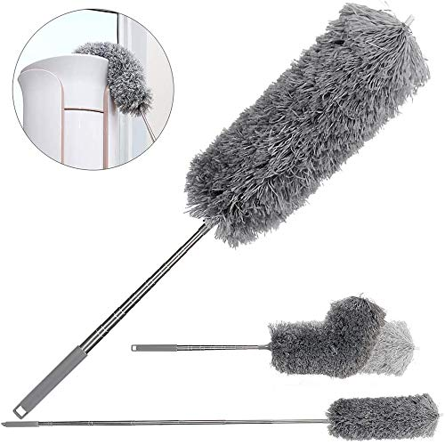 Telescoping Duster, Microfiber Duster with Extension Pole, Feather Duster and Ceiling Fan Duster for Cleaning High Ceiling, Blinds, Cobwebs, Furniture, Cars, Bendable Extendable Duster