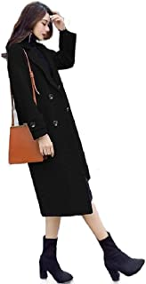 neveraway Womens Slim Fit Long Double-Breasted Coat Jacket Wool Overcoat Outwear