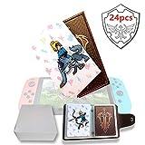 Tarjetas de Juego con Etiqueta NFC para el Interruptor Legend of Zelda Breath of The Wild/Wii U - 24 Tarjetas con Tarjetero de Cuero