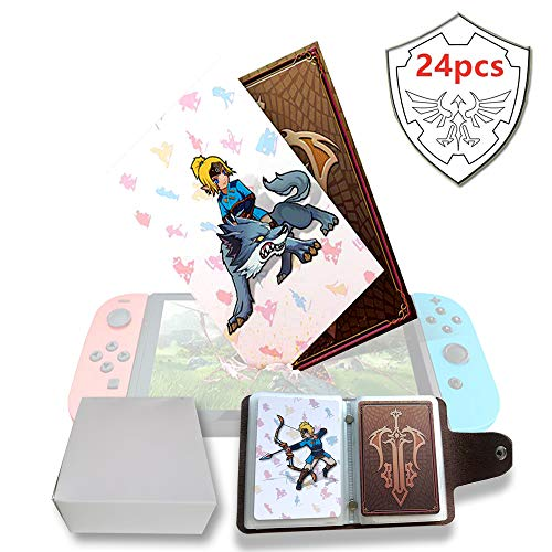 NFC Tag Game Cards per the Legend of Zelda Breath of the Wild Switch/Wii U - 24 pezzi di carte con portacarte in pelle