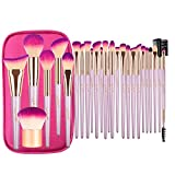 JAF 26pcs Professional Large Pink Purple Makeup Brushes Set with Storage Case Vegan Synthetic Make Up Brushes Set in Gold Bag Holder Cruelty Free Cosmetic Big Makeup Brushes & Tools Kit for Eye Face Contour Foundation Highlighter…