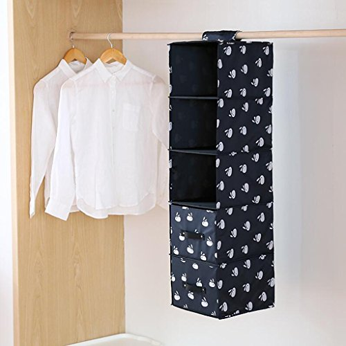 Sac de rangement en armoire à tiroirs noir Sac à linge suspendu Sac de rangement de sous-vêtements Five Layers (27 * 28 * 102cm) Rollsnownow (Couleur : Two drawers)