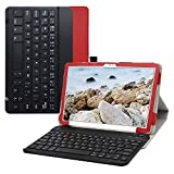 Bige for Galaxy Tab A7 10.4' 2020 Keyboard Case,PU Leather Cover with Romovable Wireless Keyboard for Samsung Galaxy Tab A7 10.4' 2020 (SM-T500 /T505 /T507) Tablet,Red