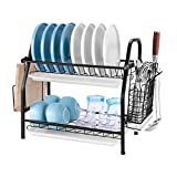 Dish Drying Rack, bestwishes Dish Rack 304 Stainless Steel 2 Tier Dish Rack with Drainboard Utensil Holder Cutting Board Holder and Dish Drainer for Kitchen Counter (Black)