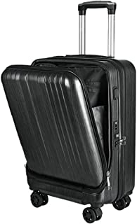 FDSjd 20 Inch Front Computer Bag PC Luggage USB Charging Business Boarding Trolley Case (Color : Black)