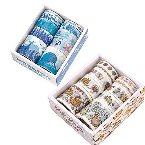 20 Rollos de Cinta Adhesiva Decorativa Multipatrón, Washi Tapes Set, Cinta Adhesiva Washi para Manualidades, Cinta Adhesiva Decorativa Japonesa, Envolver Regalos, álbumes de Recortes, 2 Tema