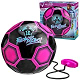 Kids Training Soccer Ball - Size 3 Youth Smart Football with Tether for Juggling, Foot Control, Kicking Practice - Adjustable Cord - Outdoor Soccer Equipment (Black)