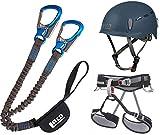 LACD Klettersteigset Pro + Klettergurt Start Größe M + Helm Protector 2.0 Midnight Navy