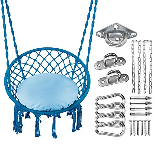 Greenstell Hammock Chair with Hanging Kits and Cushion, Cotton Rope Macrame Swing Chair, Comfortable Sturdy Hanging Chairs for Indoor,Outdoor,Bedroom,Patio,Yard, Garden,Home,290LBS Capacity (Blue)