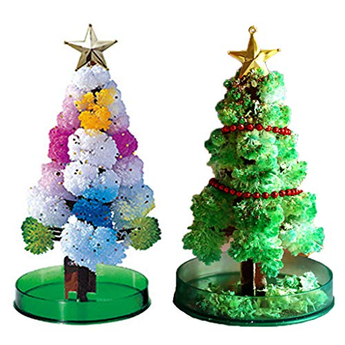 Shan-S 2PCS Magic Growing Crystal Christmas Tree Presents Novelty Xmas Ornaments Wall Hanging Gifts for Kids Boy Girl Funny Educational Games Toy,Christmas Decoration Party Toy,Creative Birthday Gift