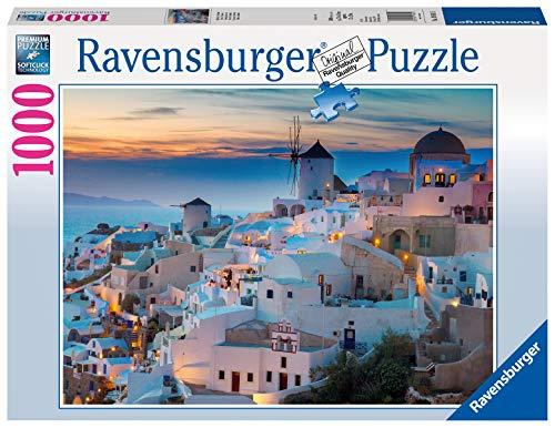 Ravensburger Puzzle, Puzzle 1000 Pezzi, Serata a Santorini, Puzzle per Adulti, Puzzle Mare, Puzzle Ravensburger - Stampa di Alta Qualità