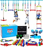 Winslow&Ross 49pcs Ninja Line Swing Set Toys for Kids, Obstacle Course Set for Indoor Outdoor Backyard Jungle Gym Training Equipment - with 60ft Extra Long Slack Line, 14 Hanging Loops