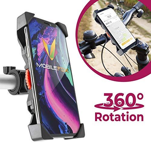 MOBILEFOX Universele 360 ° fiets fiets fiets scooter stuurhouder verstelbaar mobiele telefoon stuurstang houder draaibaar smartphone klemhouder