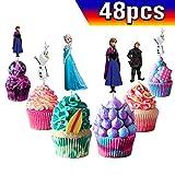 Lot de 48 décorations pour cupcakes La Reine des neiges