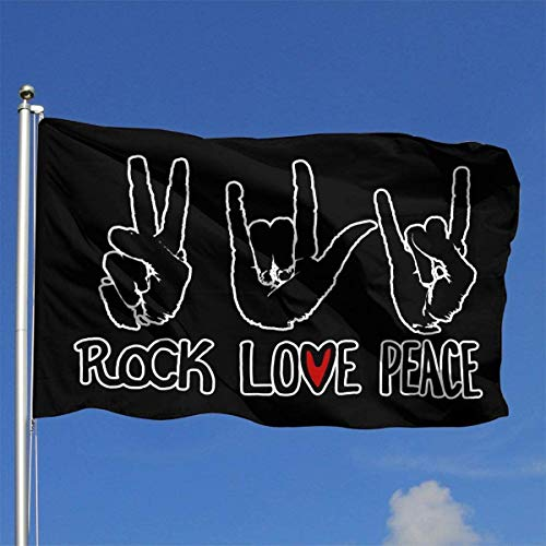 Xhayo Flaggen Peace Love Rock 3x5 Ft Flag Outdoor Premium Quality
